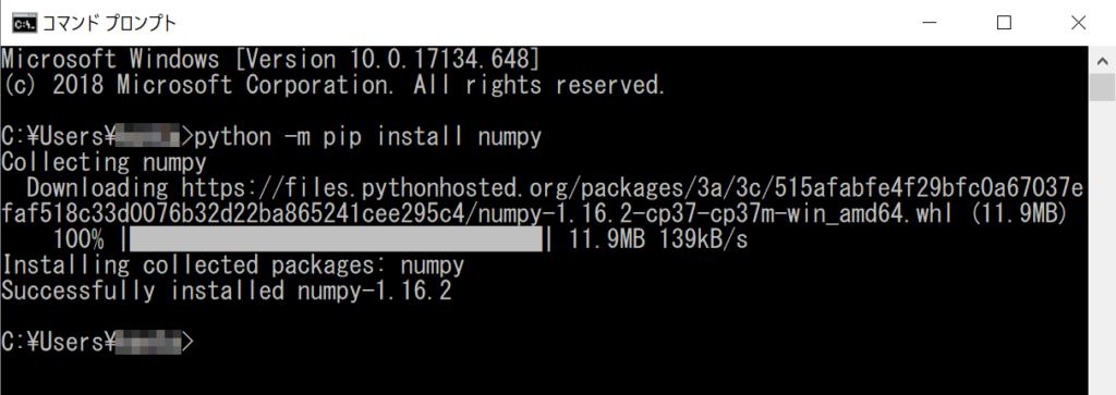 python -m pip install実行画面