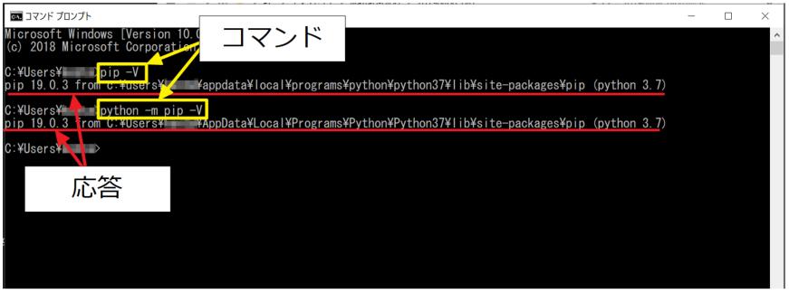 python -mを付けた場合と付けなかった場合の実行画面。