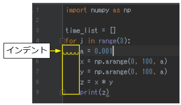 Pythonのインデント