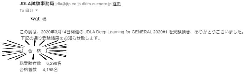 G検定合格通知のメール