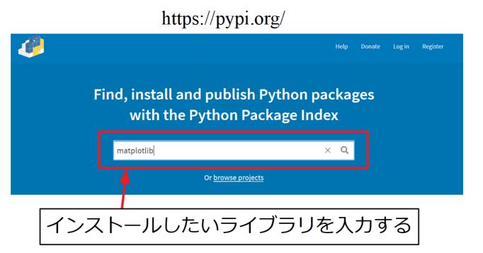 PyPI公式ページでライブラリを検索