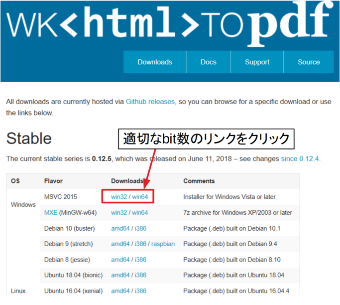 wkhtmltopdfのダウンロードページ