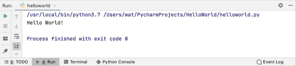 PyCharmのプログラム実行結果