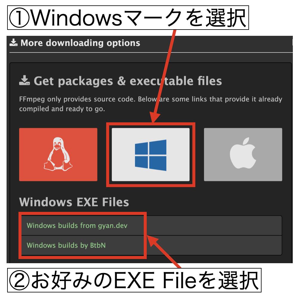 Windows版のインストール1:ダウンロード画面