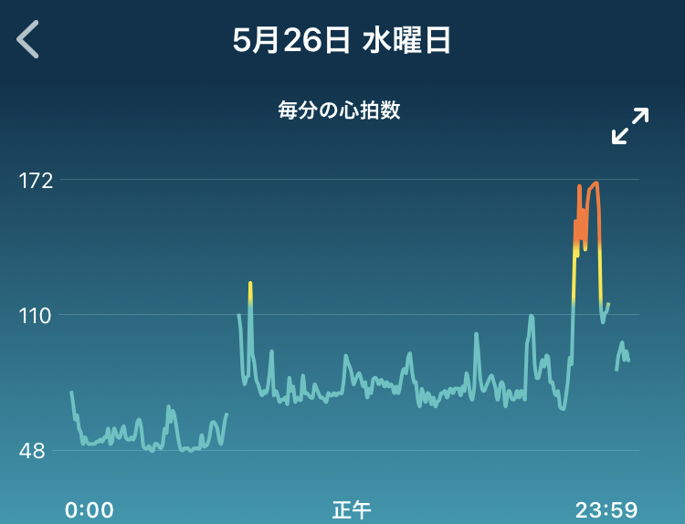 fitbitの場合の心拍数プロット(1min毎)