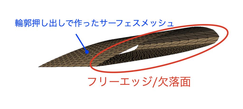 フリーエッジ/欠落面のサンプル図